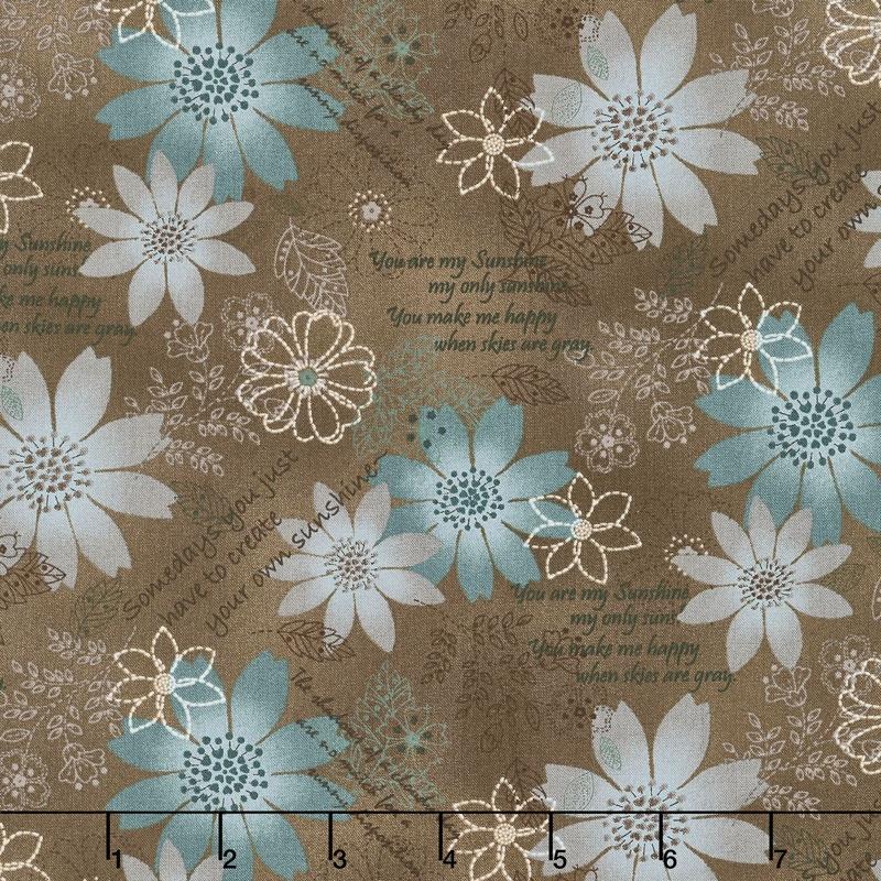 Shadows and Sunshine - Flower Collage Brown Yardage