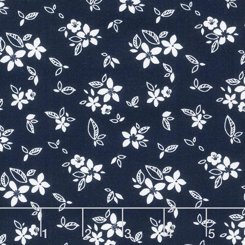 Something Borrowed - Floral Navy Yardage