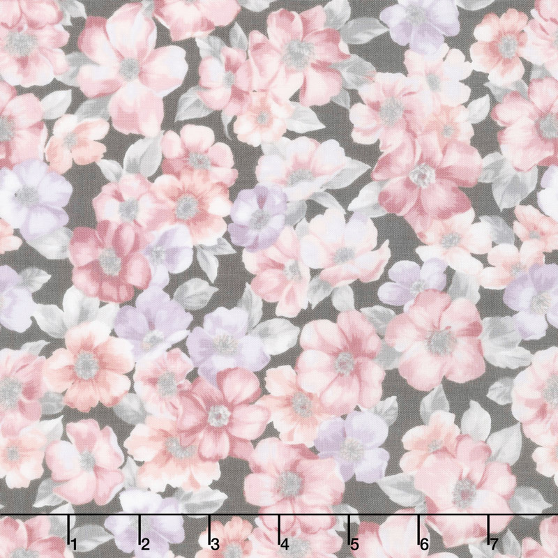 Woodside Blossom - Flowers Charcoal Yardage