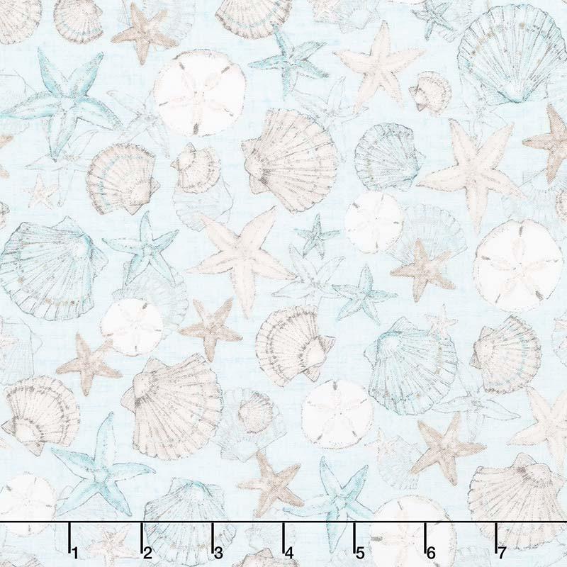 Coastal Wishes - Packed Seashells Blue Yardage