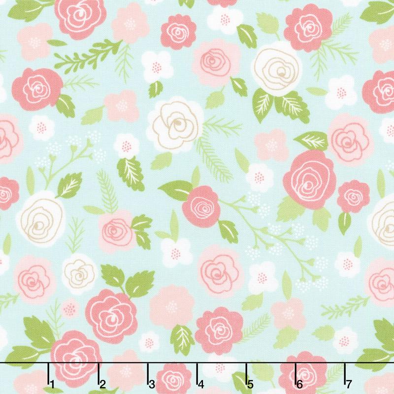Lollipop Garden - Springtime Blooms Sky Yardage