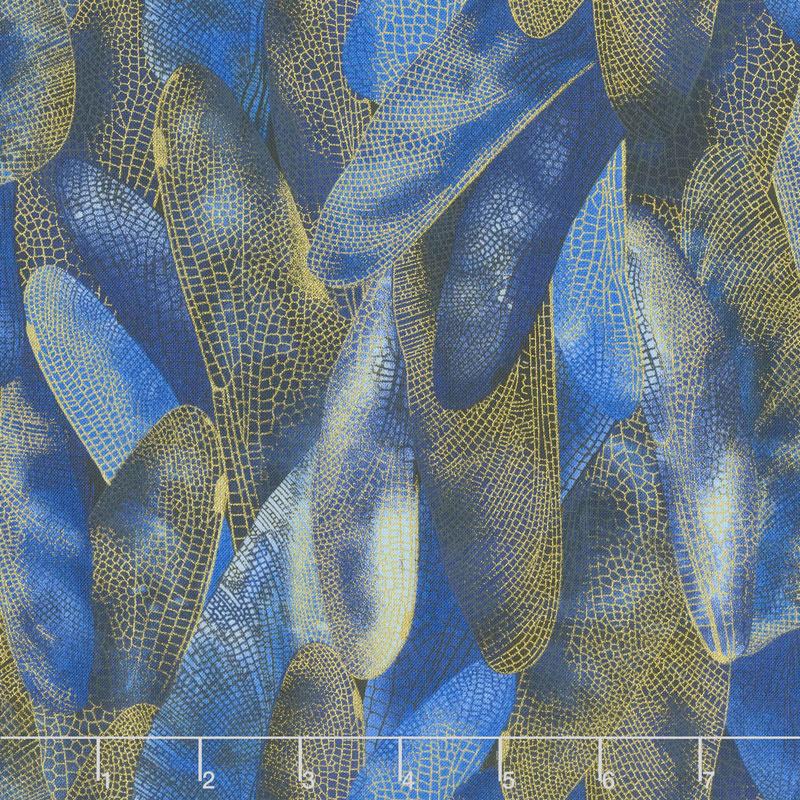 Dragonfly Dance - Blue Gilded Wings Navy Metallic Yardage