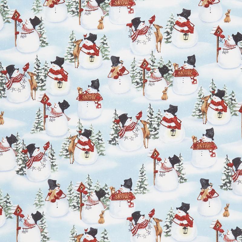 Snow Days - Snowmen and Animals Allover Blue Yardage