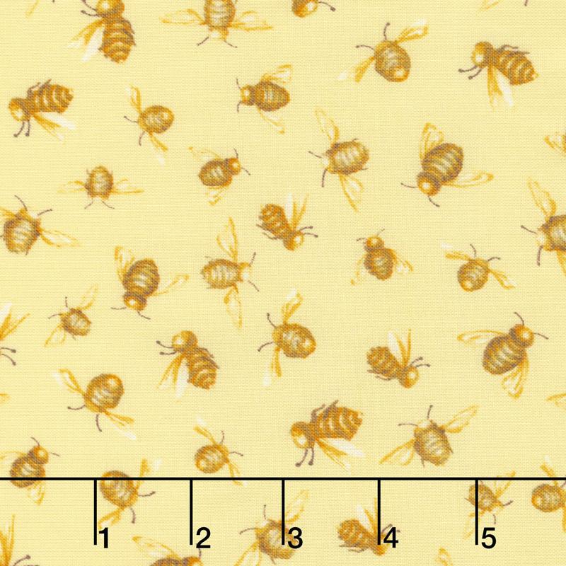 Cottage Joy - Honey Bees Yellow Yardage