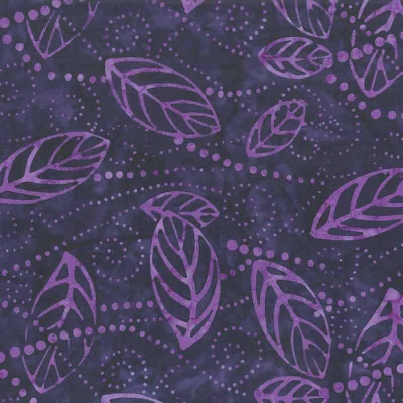 Royal Treatment Batiks - Floating Leaves Dark Purple Yardage