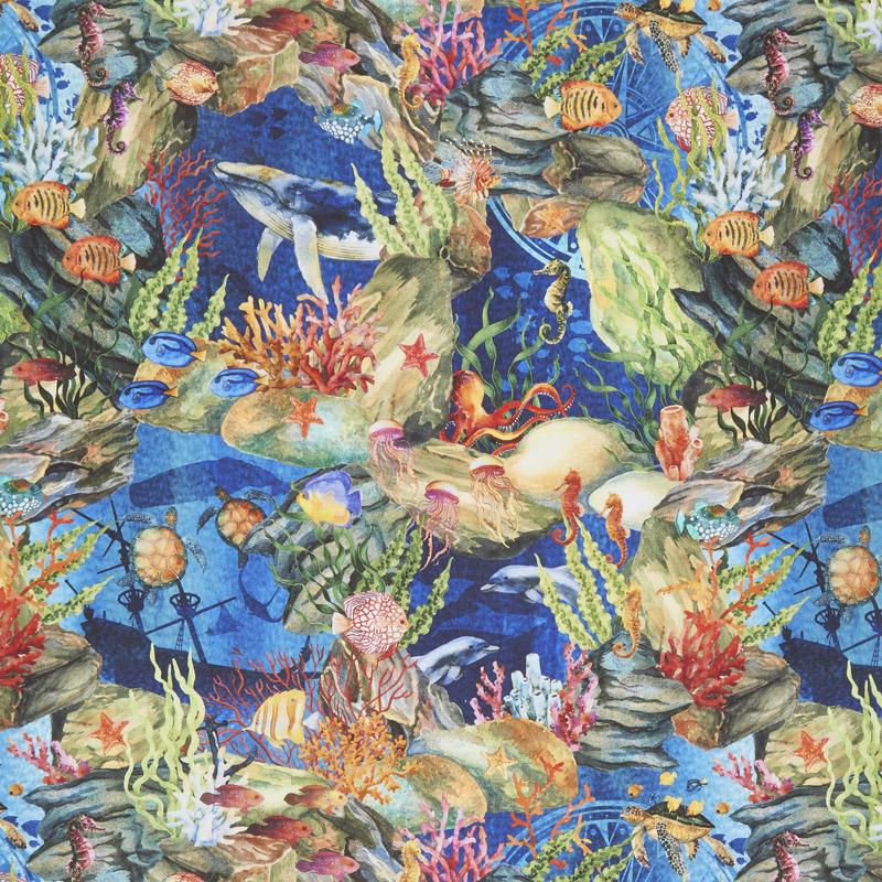 Calypso - Ocean Life Blue Digitally Printed Yardage
