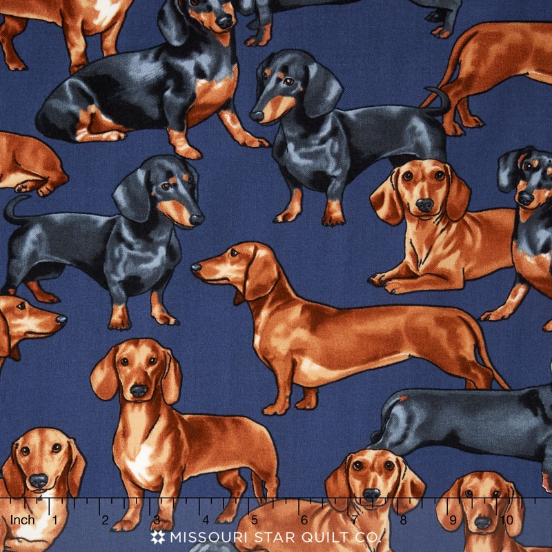 Dogs - Dachshunds Navy Yardage