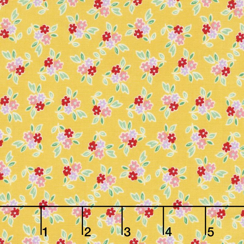 Mon Beau Jardin - Floral Yellow Yardage