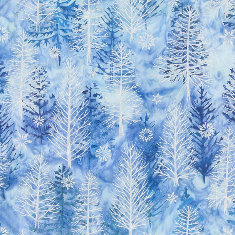 Artisan Batiks - Northwoods 8 Trees Sky Metallic Yardage