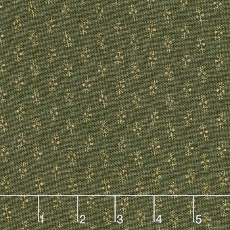 Buttermilk Blossoms - Shirting Foulard Green Yardage