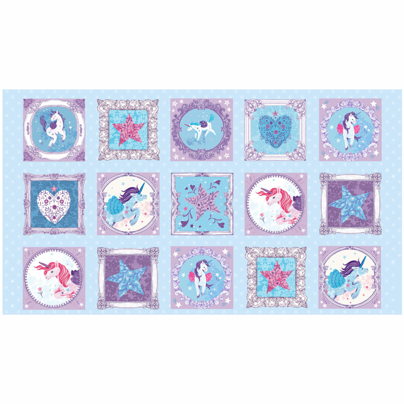 Unicorn Kisses - Unicorn Blocks Multi Yardage