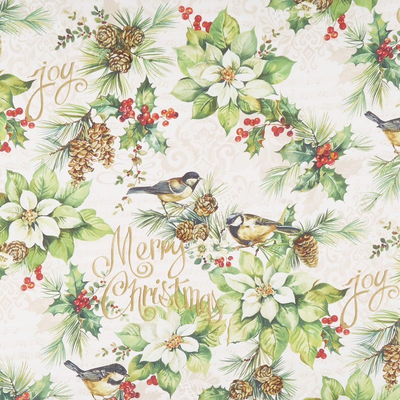 Deck the Halls - Feature Poinsettia with Birds Cream Yardage