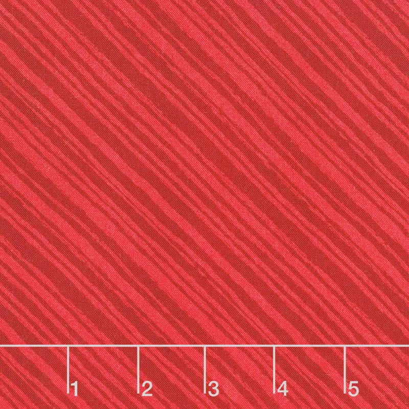 Summertime - Diagonal Stripes Red Yardage