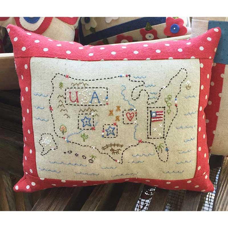 Usa Map Pillow Kit Barri Sue Gaudet Bareroots
