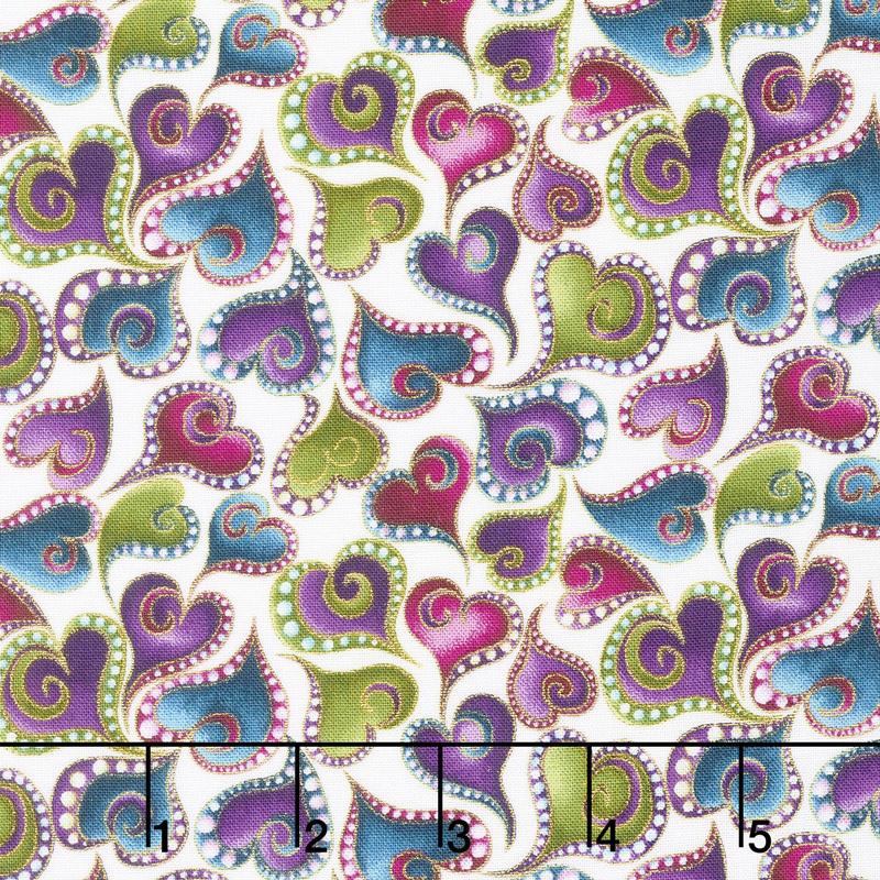 Cat - i - tude - Swirling Hearts White Multi Yardage