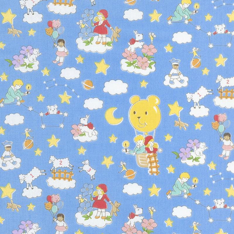 Storybook Sleepytime - Dream Clouds Blue Yardage