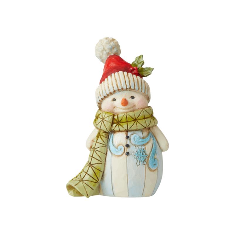 Jim Shore Heartwood Creek Snowman with Pompom Mini Figurine