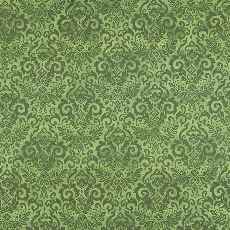 Deck the Halls - Damask Green Yardage