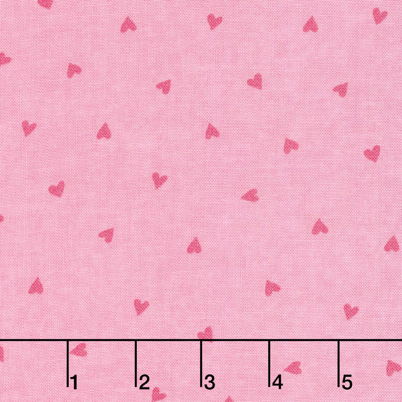 Love Grows - Tossed Hearts Passion Pink Yardage
