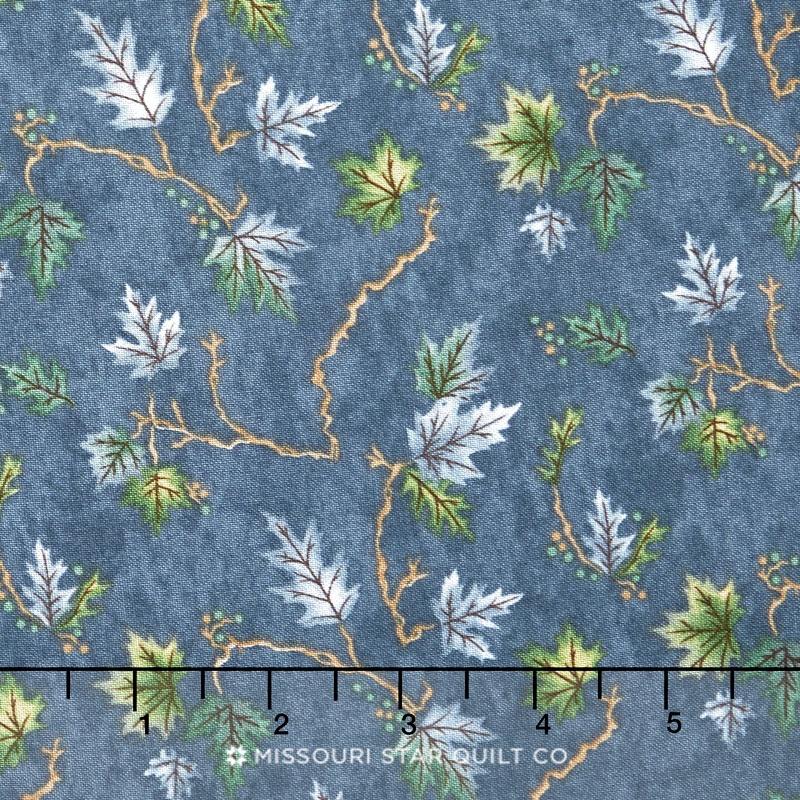 River Journey - Summer Leaves Slate Blue Yardage