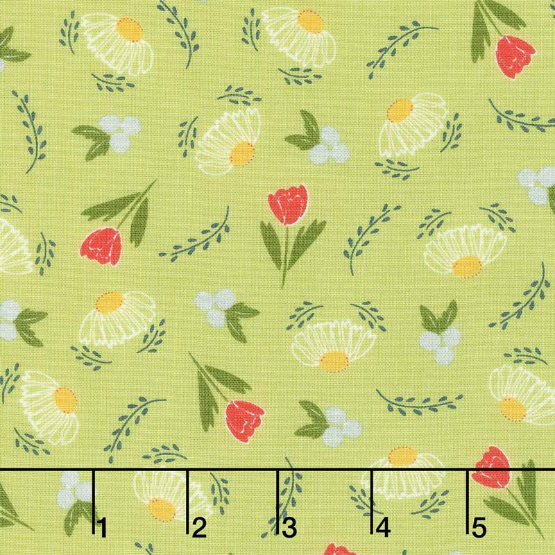 Clover Hollow - Flower Daze Leaf Green Yardage