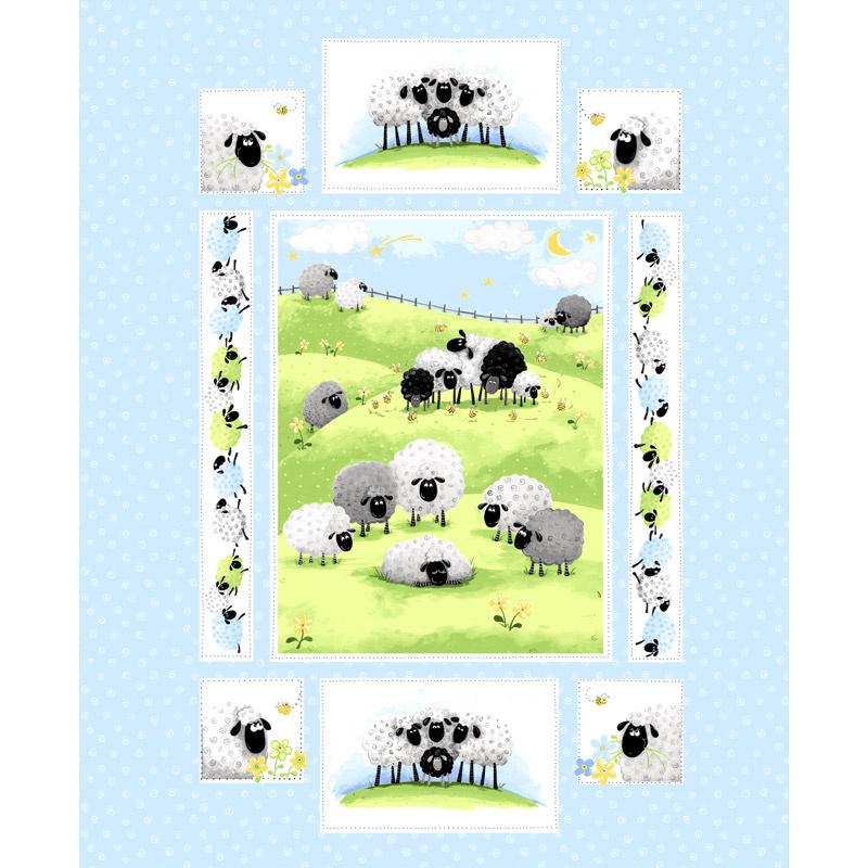 Lewe the Ewe - Sheep Blue Panel