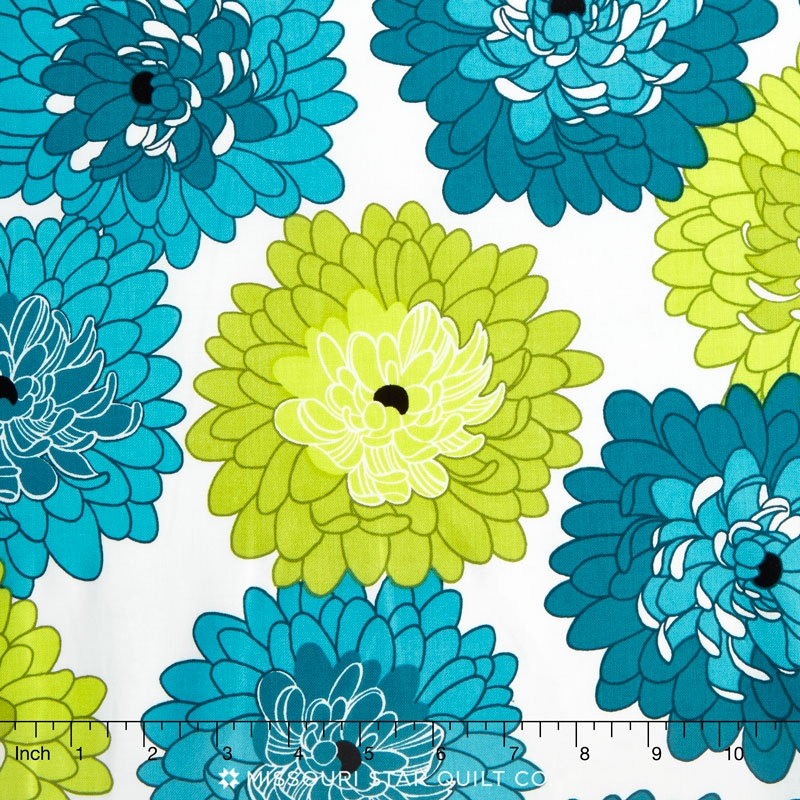 Fresh Bloom - Little Blooms Teal Green Yardage