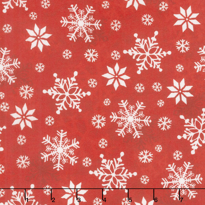 Winter Whimsy - Snowflakes Red Flannel Yardage
