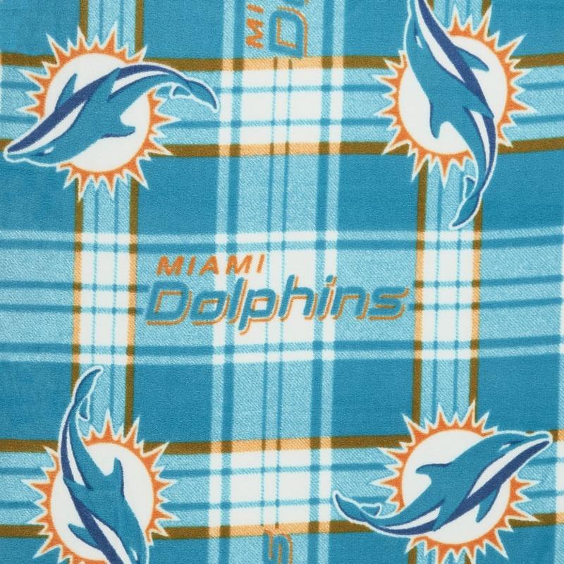 NFL Fleece - Miami Dolphins Turquoise Yardage