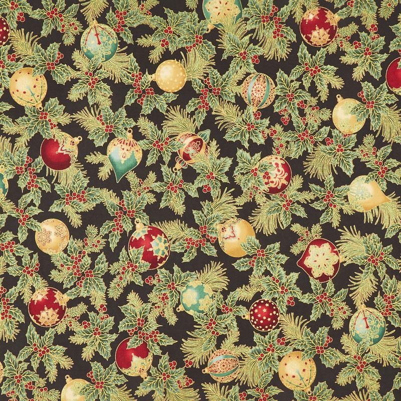 Holiday Flourish 12 - Ornaments Black Metallic Yardage