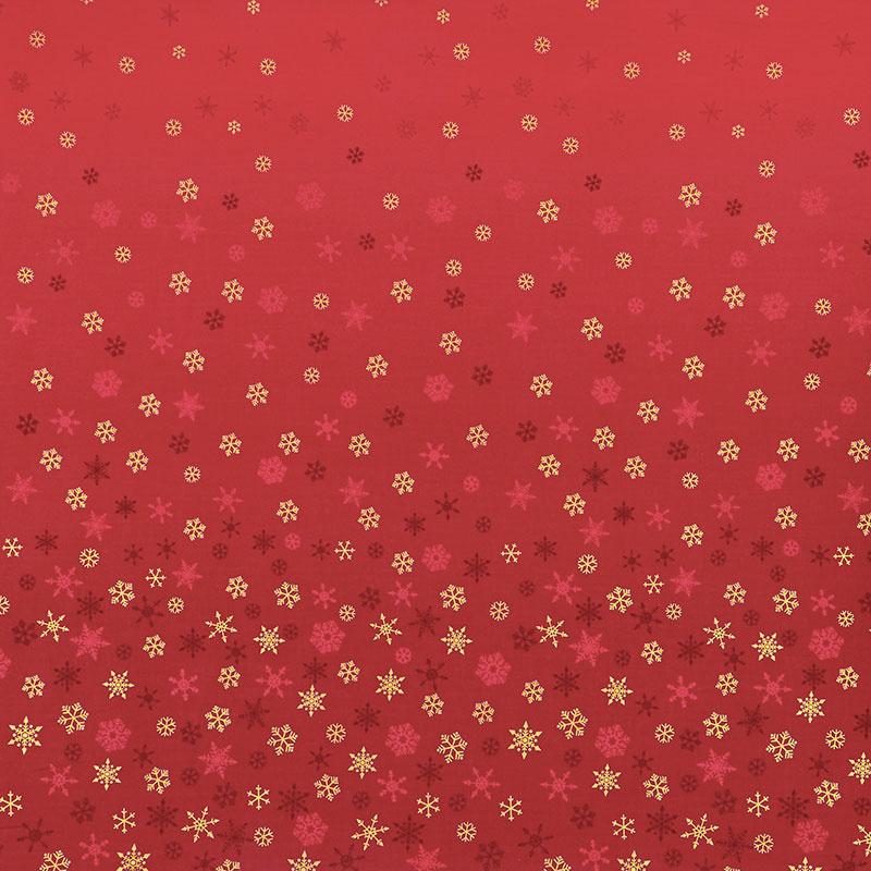 Ombre Snowflake - Ombre Snowflake Red Metallic Yardage