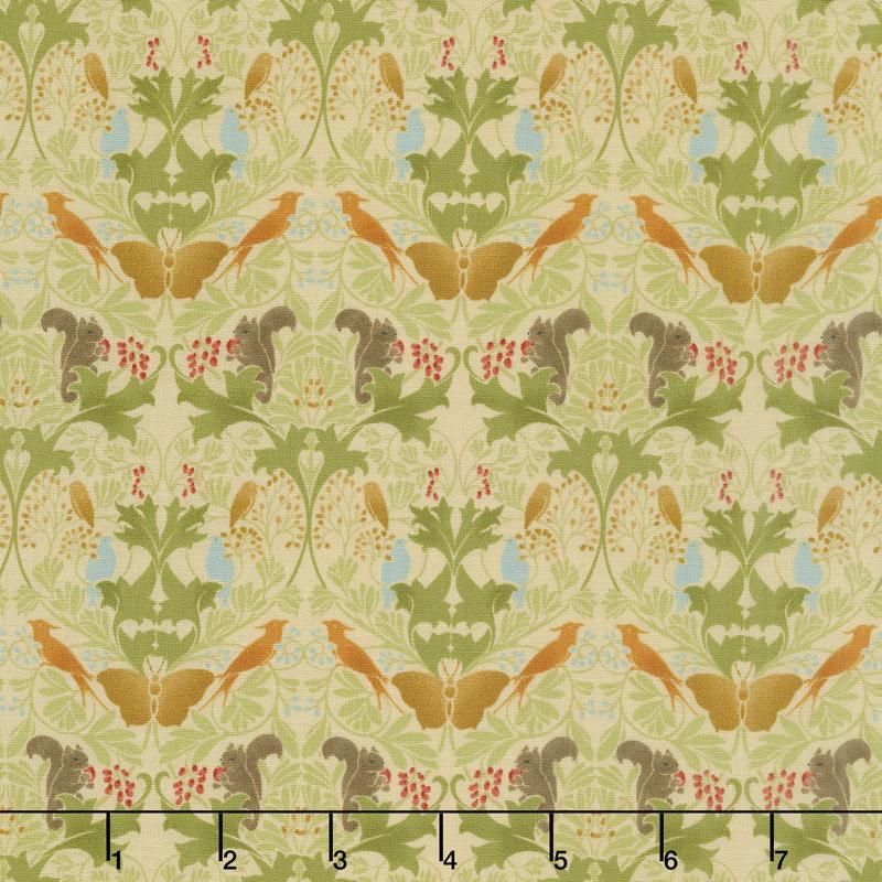 Voysey - Birds & Squirrels 1909 Parchment Yardage