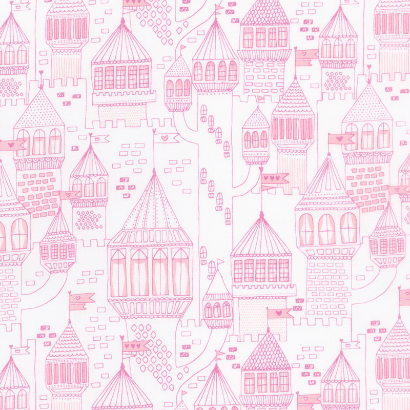 Once Upon a Time - Castle on the Hill White Peony Yardage