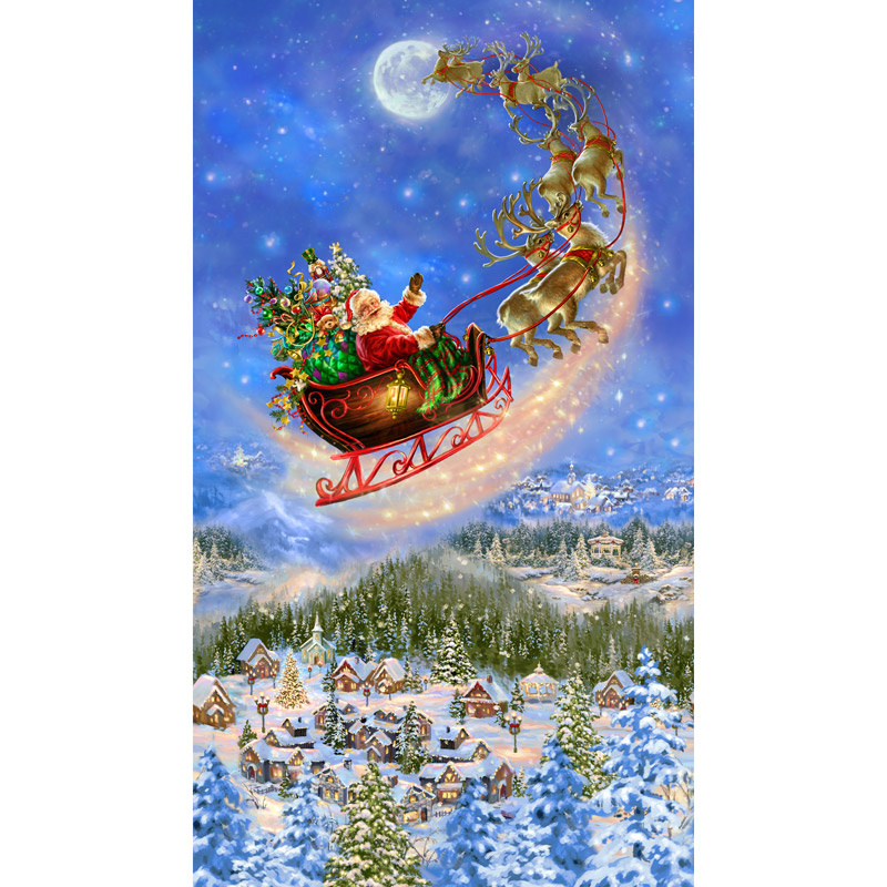 Christmas Novelties - Santa on Sled Christmas Blue Panel
