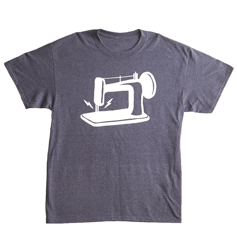 Man Sewing Heathered Navy Sewing Machine T-Shirt - 2XL