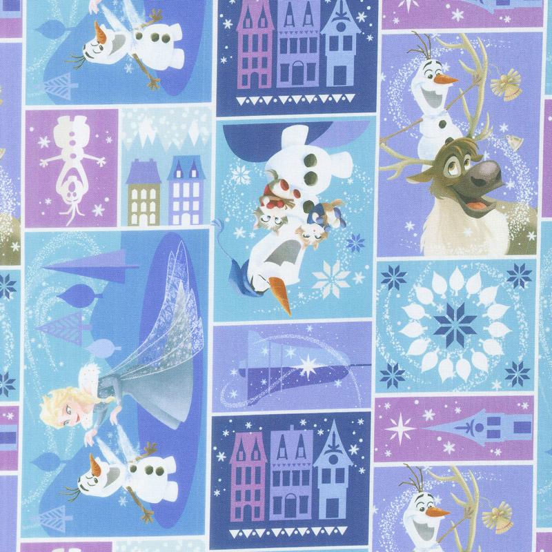 Disney Olaf's Frozen Adventure - Characters in Block in Multi Yardage