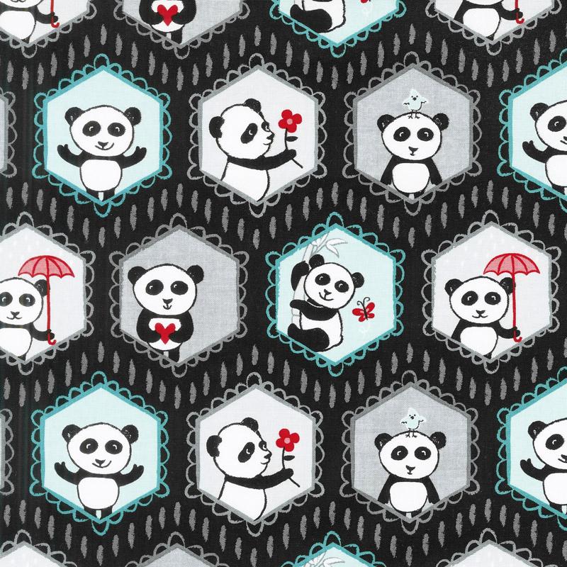 Panda Love - Main Black Yardage