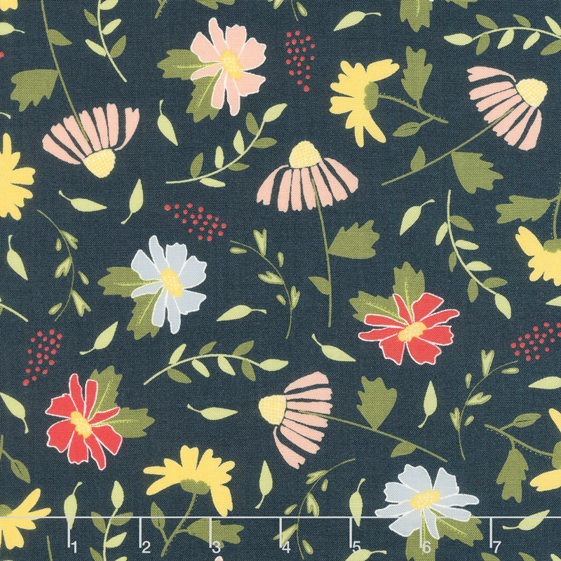 Clover Hollow - Meadow Blooms Night Sky Yardage