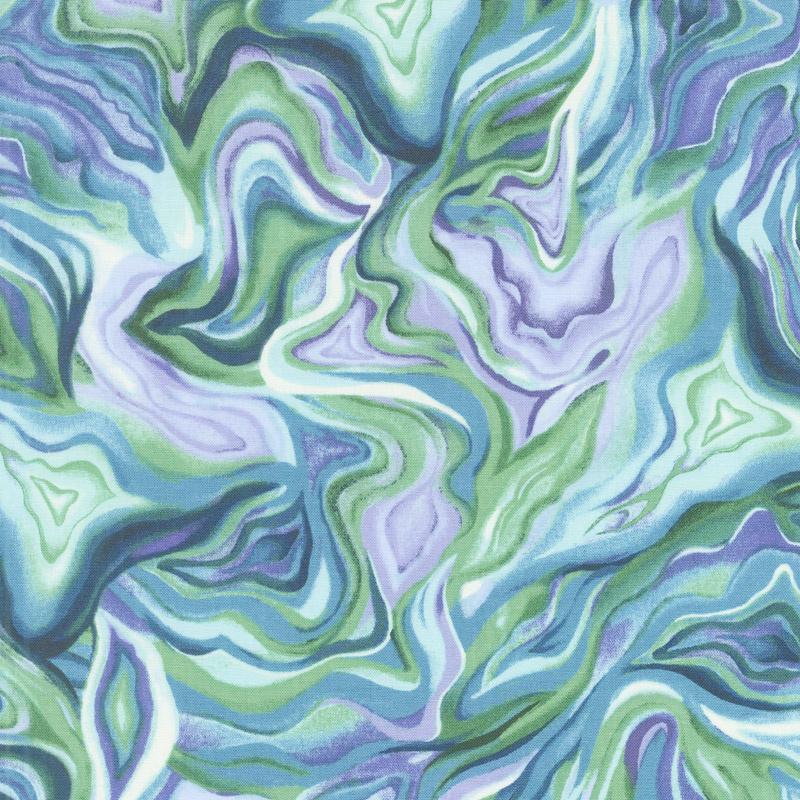 Feather & Flora - Agate Texture Jade Yardage