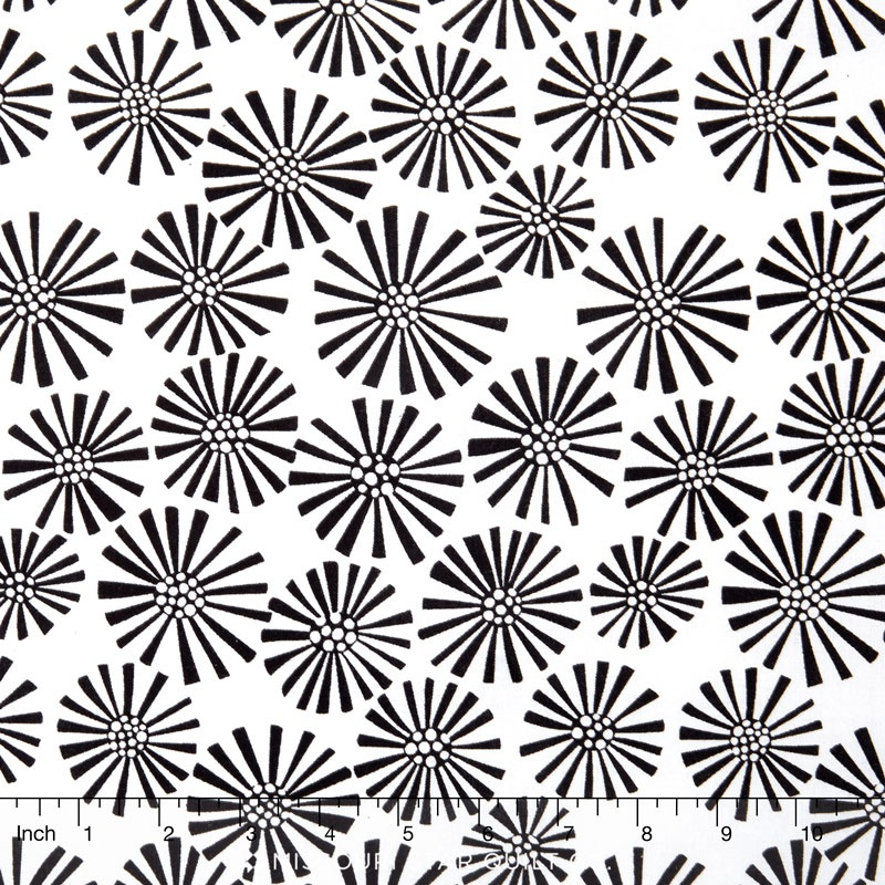 B and W - Flower White Yardage