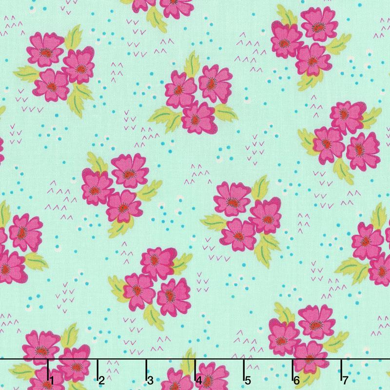 Gypsy - Floral Clusters Mint Leaf Yardage
