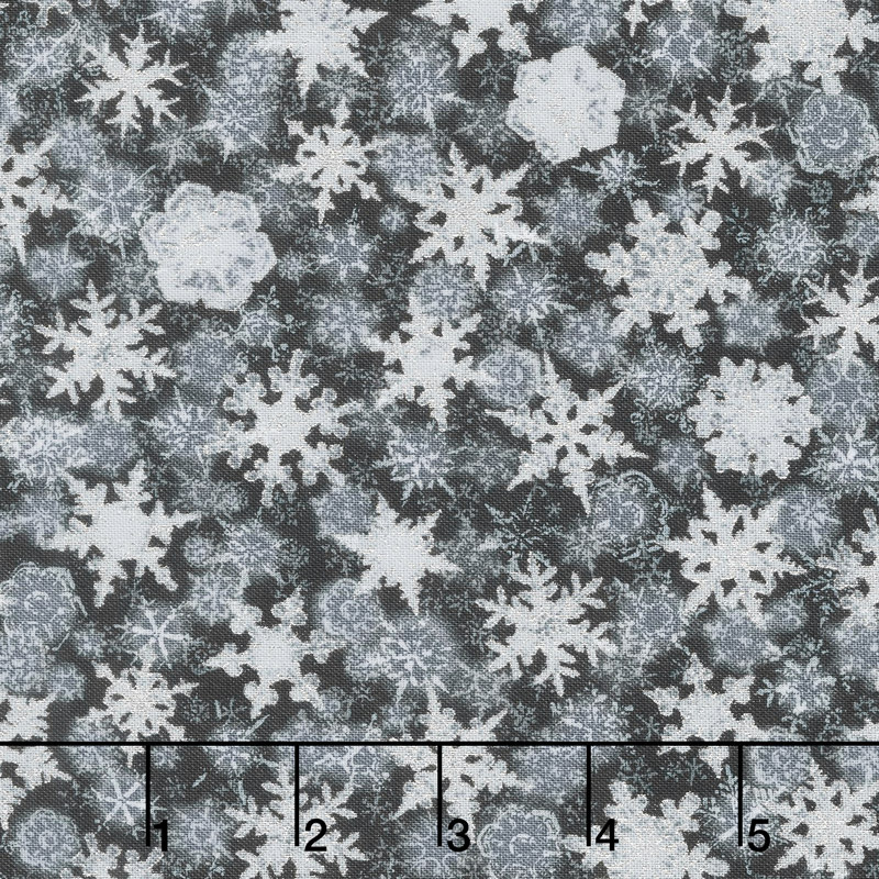 Winter's Grandeur 6 - Winter Small Flakes Ebony Metallic Yardage
