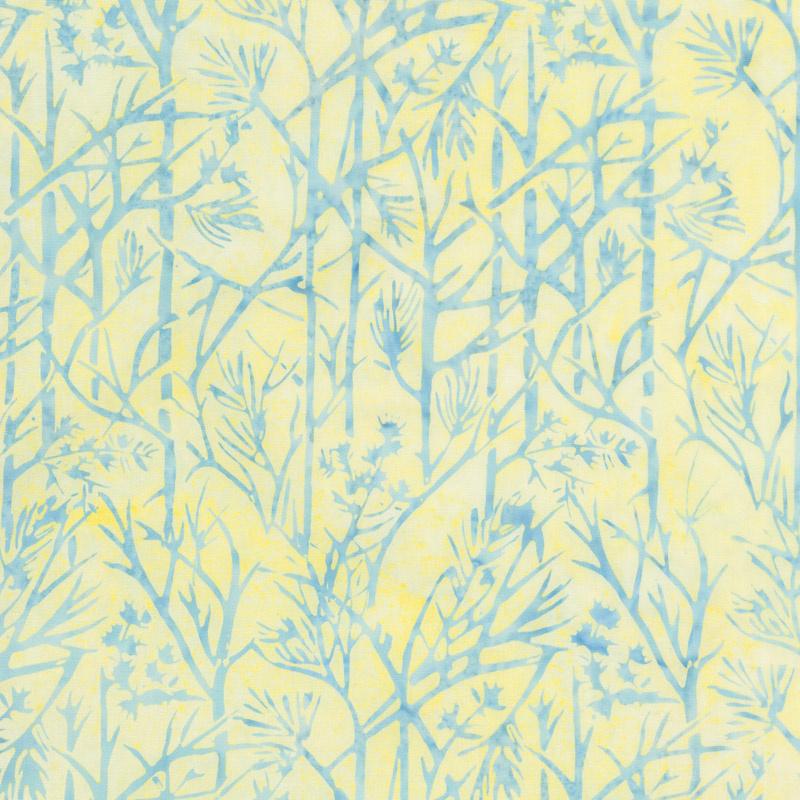 French Blue Batiks - Twigs Sunshine Yardage