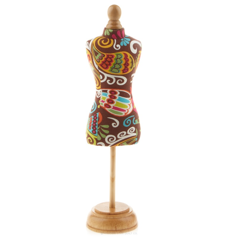 Dressform Pin Cushion with Wood Stand - Brown Paisley
