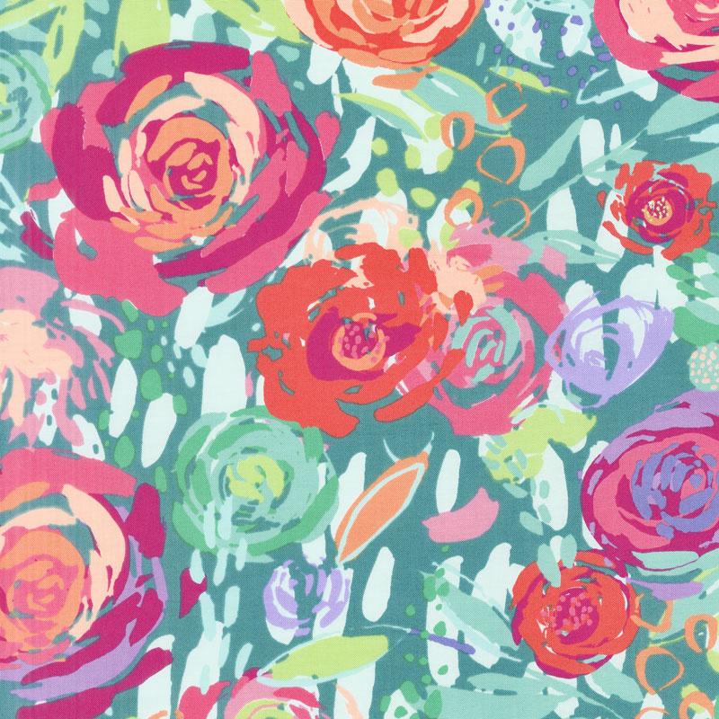 Painted Garden - Painted Garden Turquoise Yardage