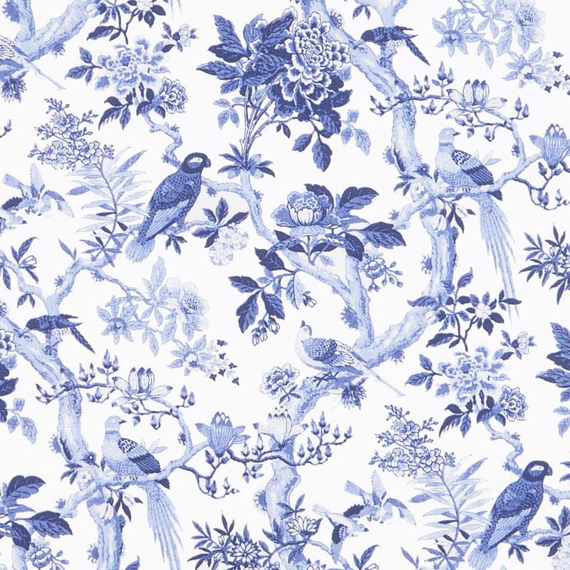 Blue Byrd - Blue Aviary Porcelain Yardage