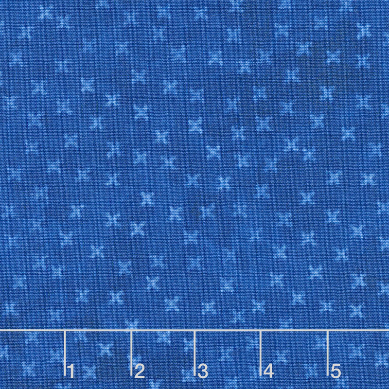 X's and O's - Rainforest Little Kisses Indigo Yardage