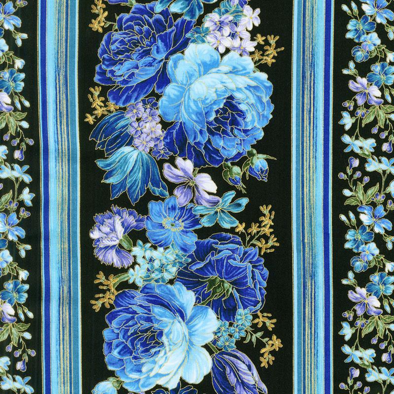 Enchanted - Flower Stripe Black Metallic Yardage