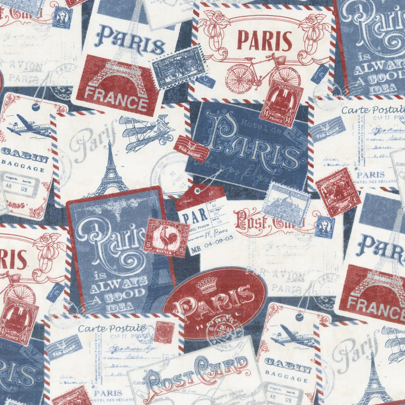 Paris, Always a Good Idea - Postcards from Paris Navy Yardage