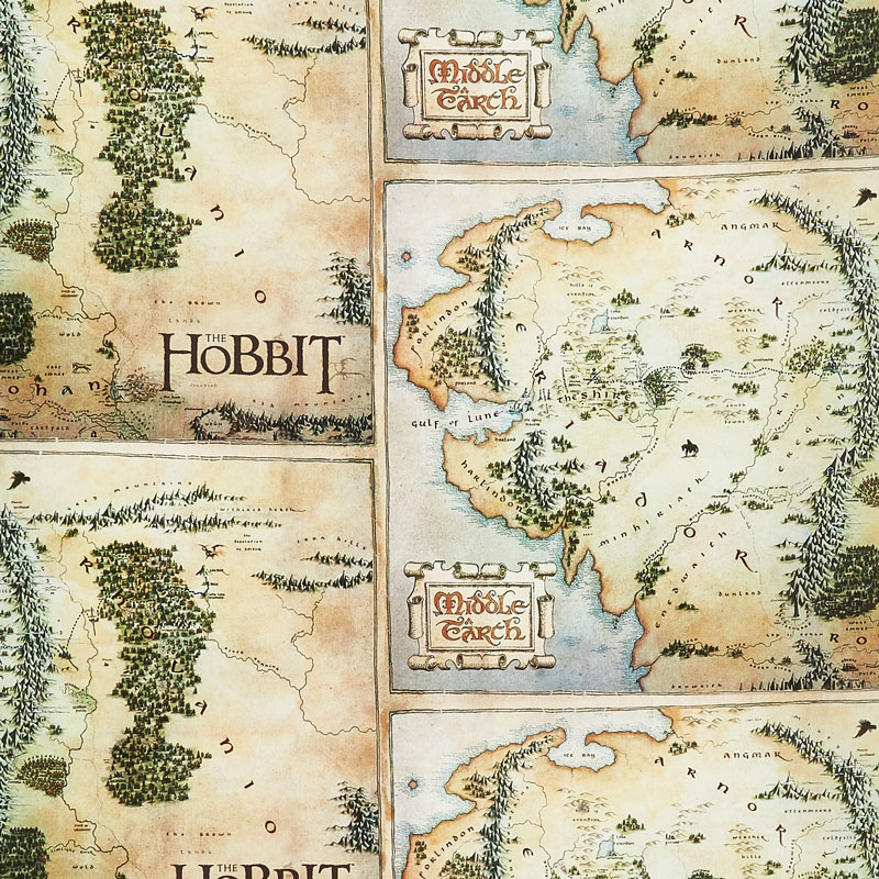 the hobbit map tan digitally printed yardage